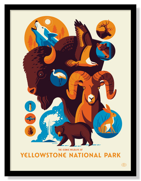 Iconic Wildlife of Yellowstone National Park Poster (Large Timed Edition)
