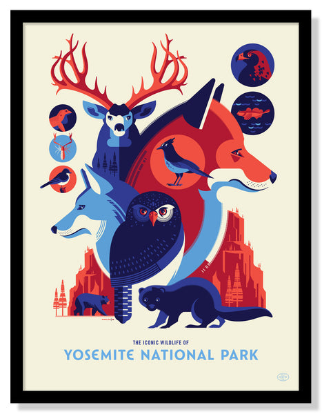 Iconic Wildlife of Yosemite National Park Poster (Large Timed Edition)