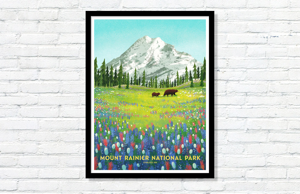 Mount Rainier National Park Poster (Large Timed Edition)