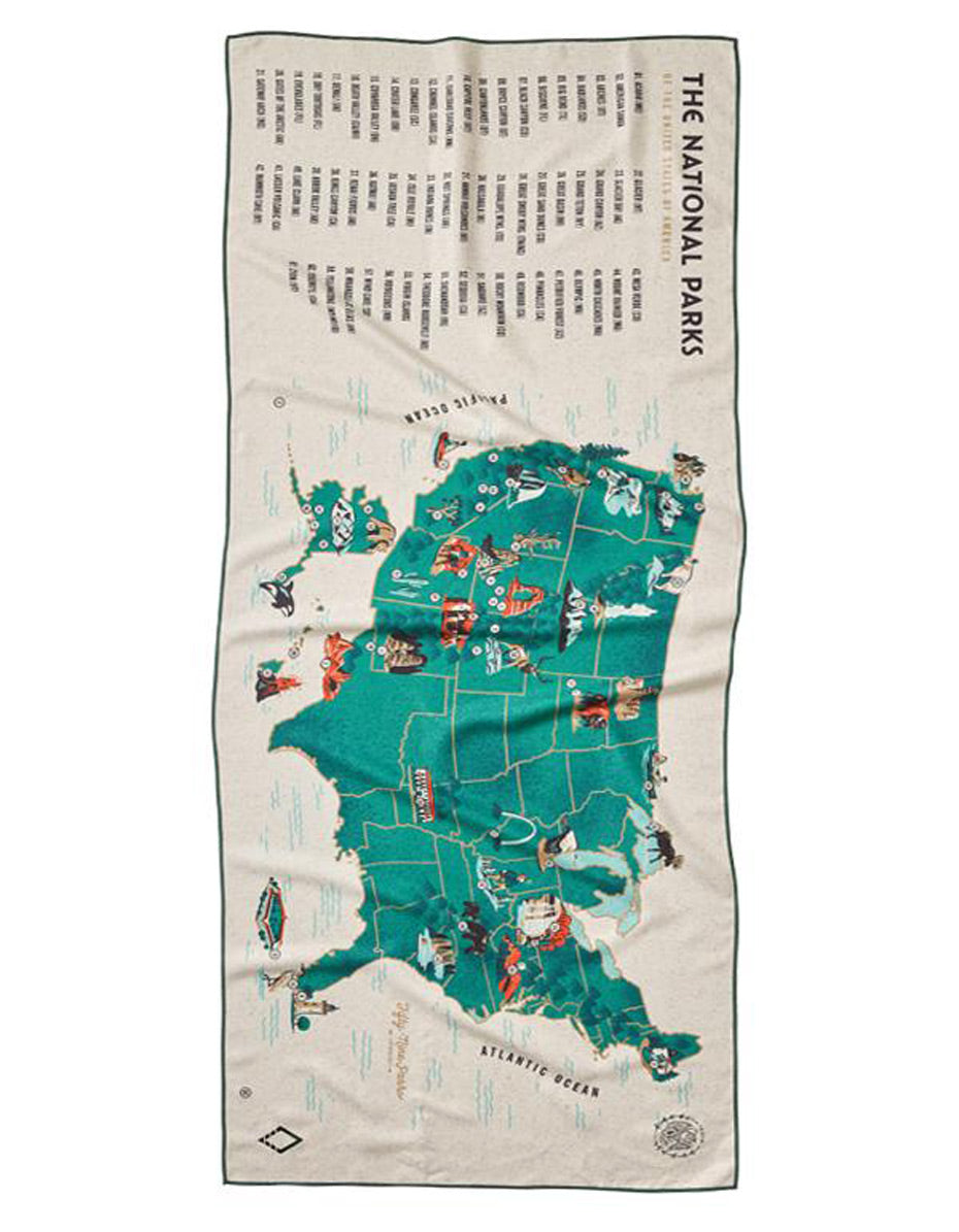 National Park Map Nomadix Towel