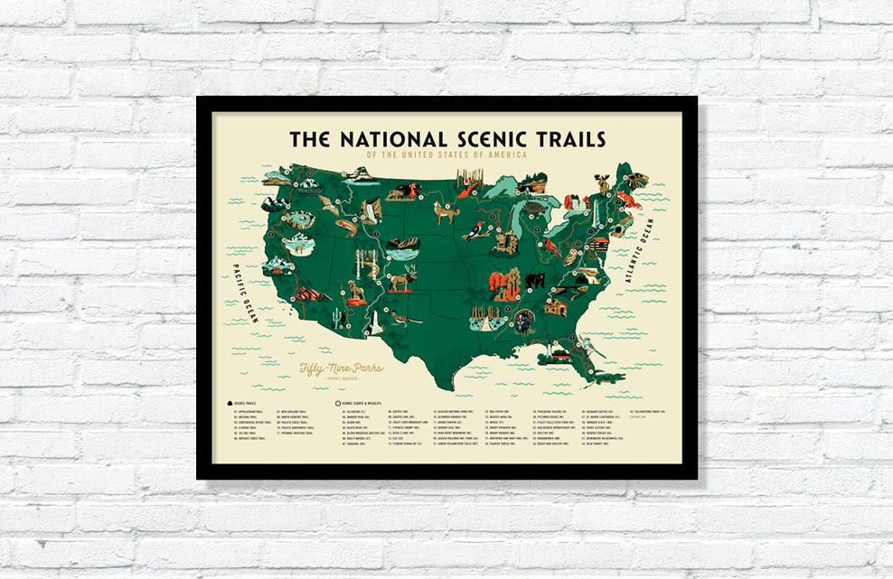 U.S. National Scenic Trails Map Poster (Large Timed Edition)