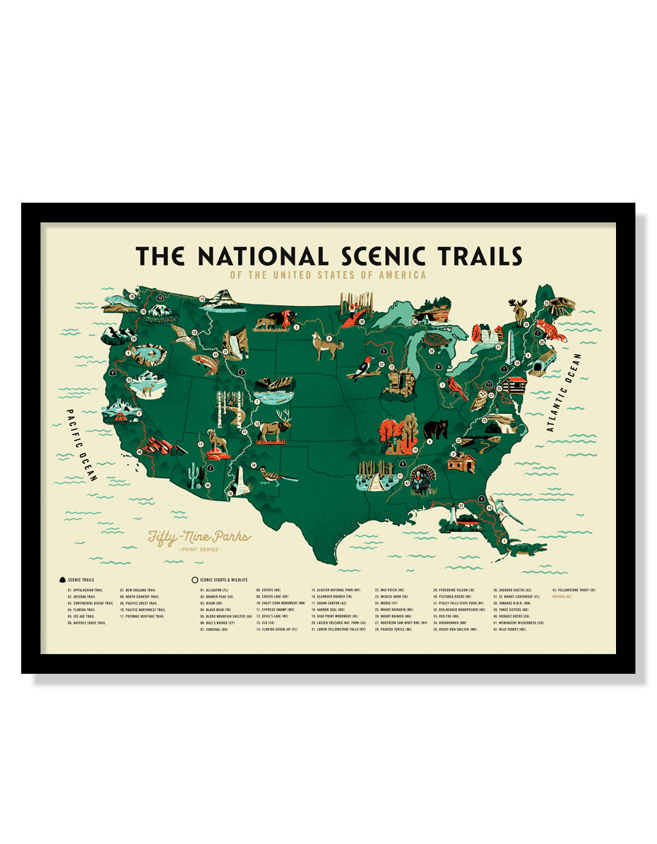 U.S. National Scenic Trails Map Poster