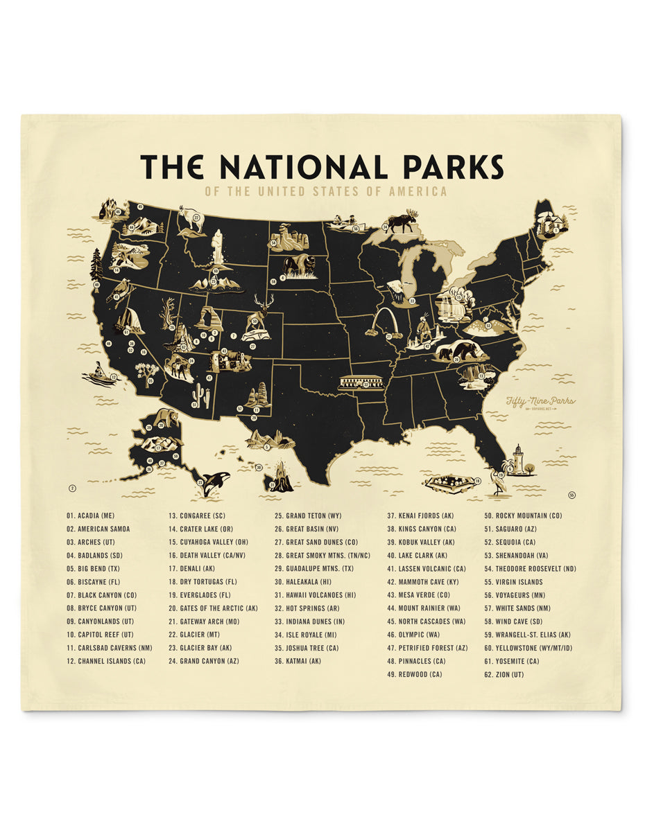 National Parks Map Bandana