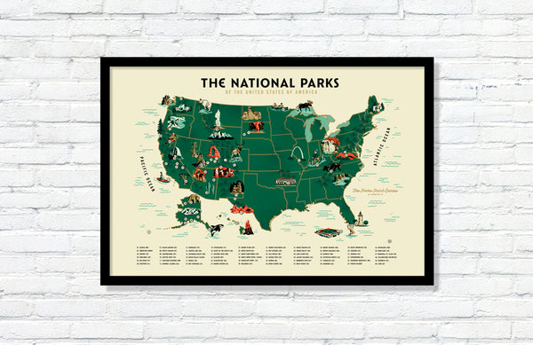 U.S. National Parks Map Poster (Large Timed Edition) – Fifty-Nine Parks