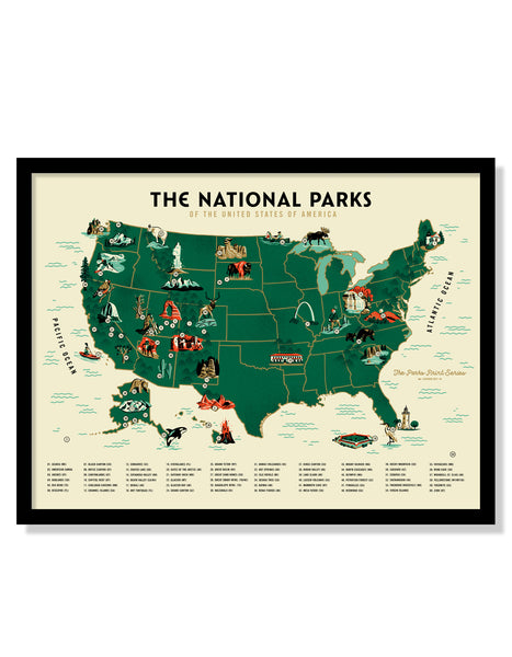 U.S. National Parks Map Poster (Large Timed Edition)