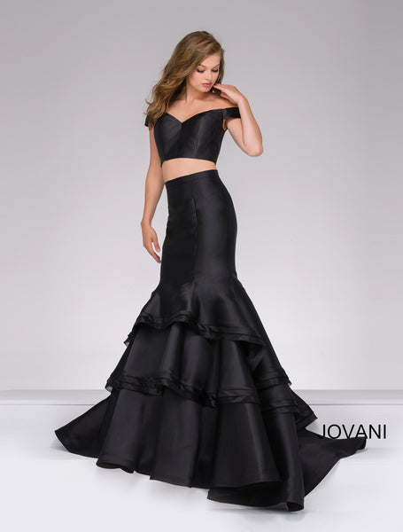 JOVANI 46866 TWO-PIECE OFF THE SHOULDER LONG MERMAID PROM DRESS
