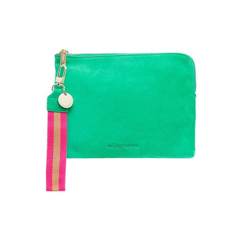 Paige Clutch w Wristlet Emerald Suede - Accessories
