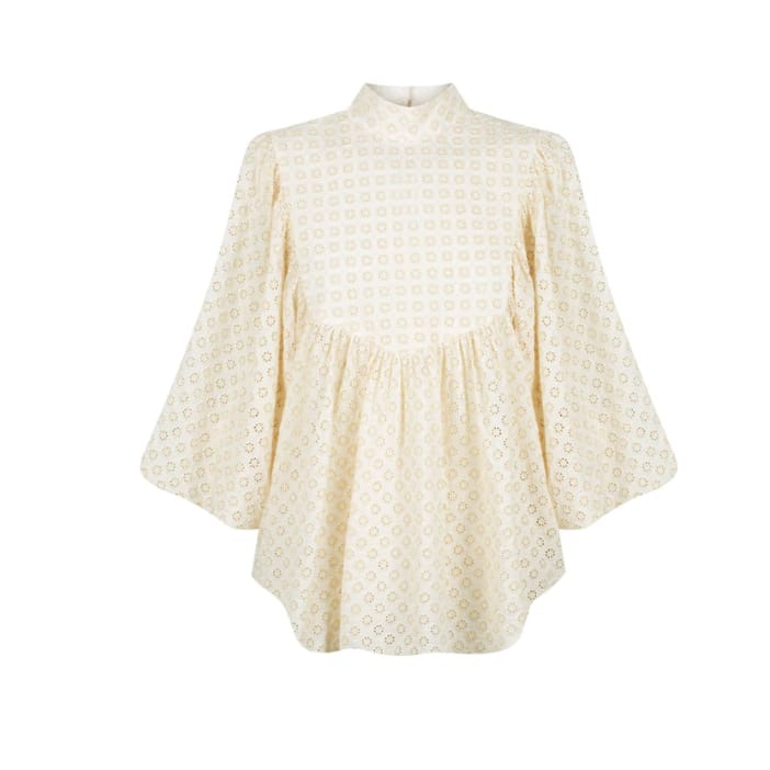 Poppy High Neck Balloon Sleeve Blouse Buttermilk - Tops