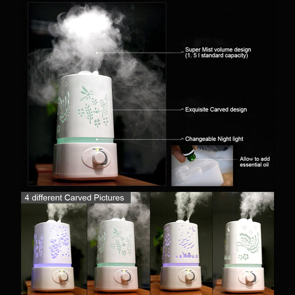 Aromatherapy Humidifier with LED Night Light and Carved Design