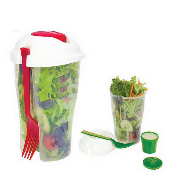 BPA Free Salad Cup To Go With Fork And Dressing Container