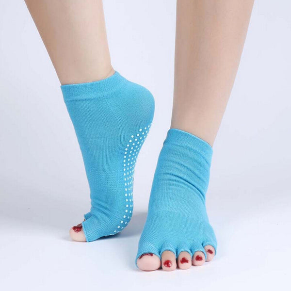 Half Toe Ankle Grip Yoga Dance Pilates Socks With Open Toes