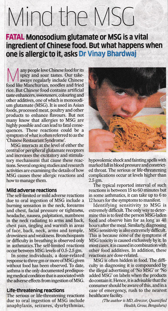 Mind The MSG, DH Living, Deccan Herald
