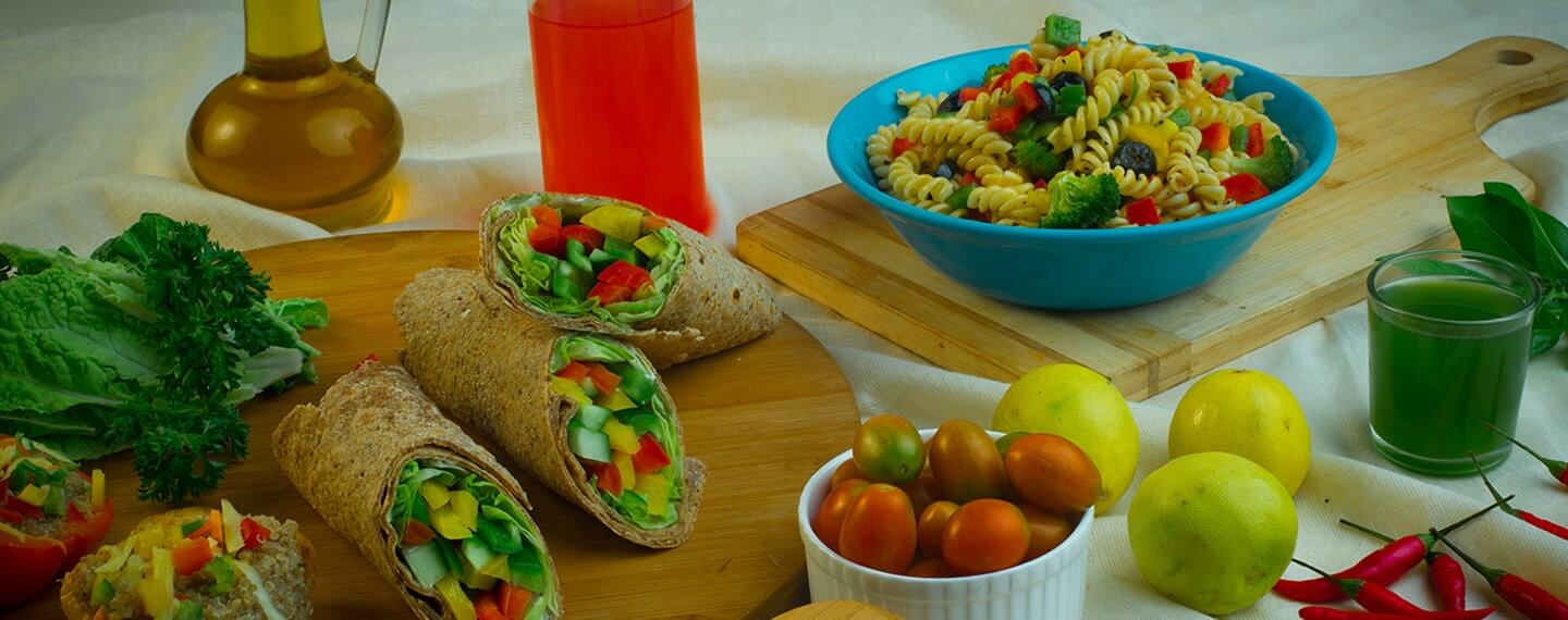 Healthy fresh meals and packaged foods