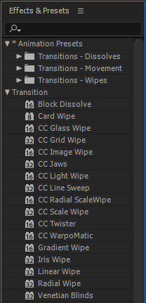 Free After Effects Transitions Presets List