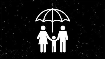 Family under umbrella animation