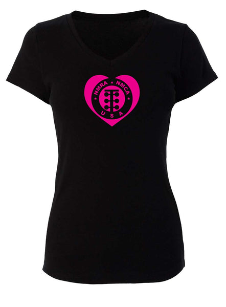 NMRA/NMCA Womens Circle Heart V-neck