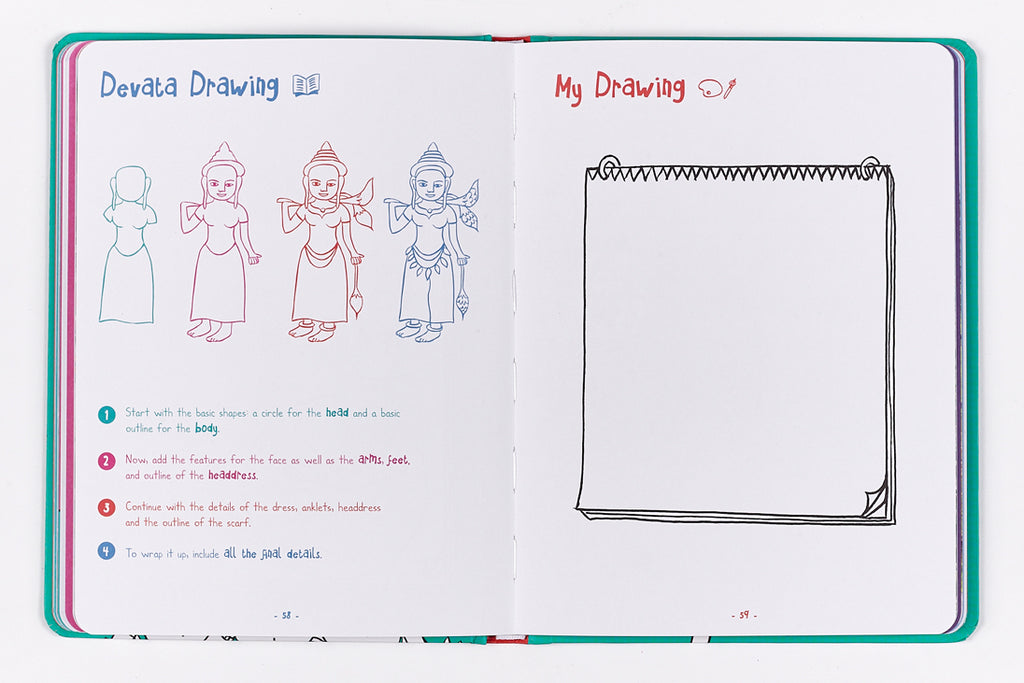 Travel book for kids in Cambodia - step by step drawing of devata