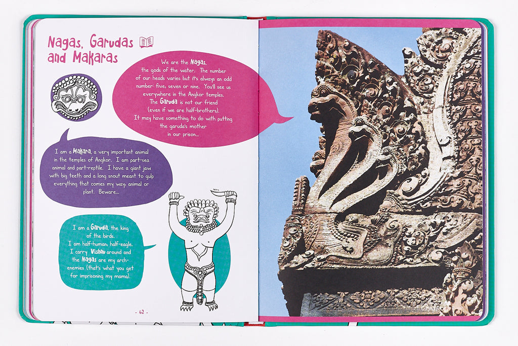 Travel book for kids in Cambodia - nagas and garuda
