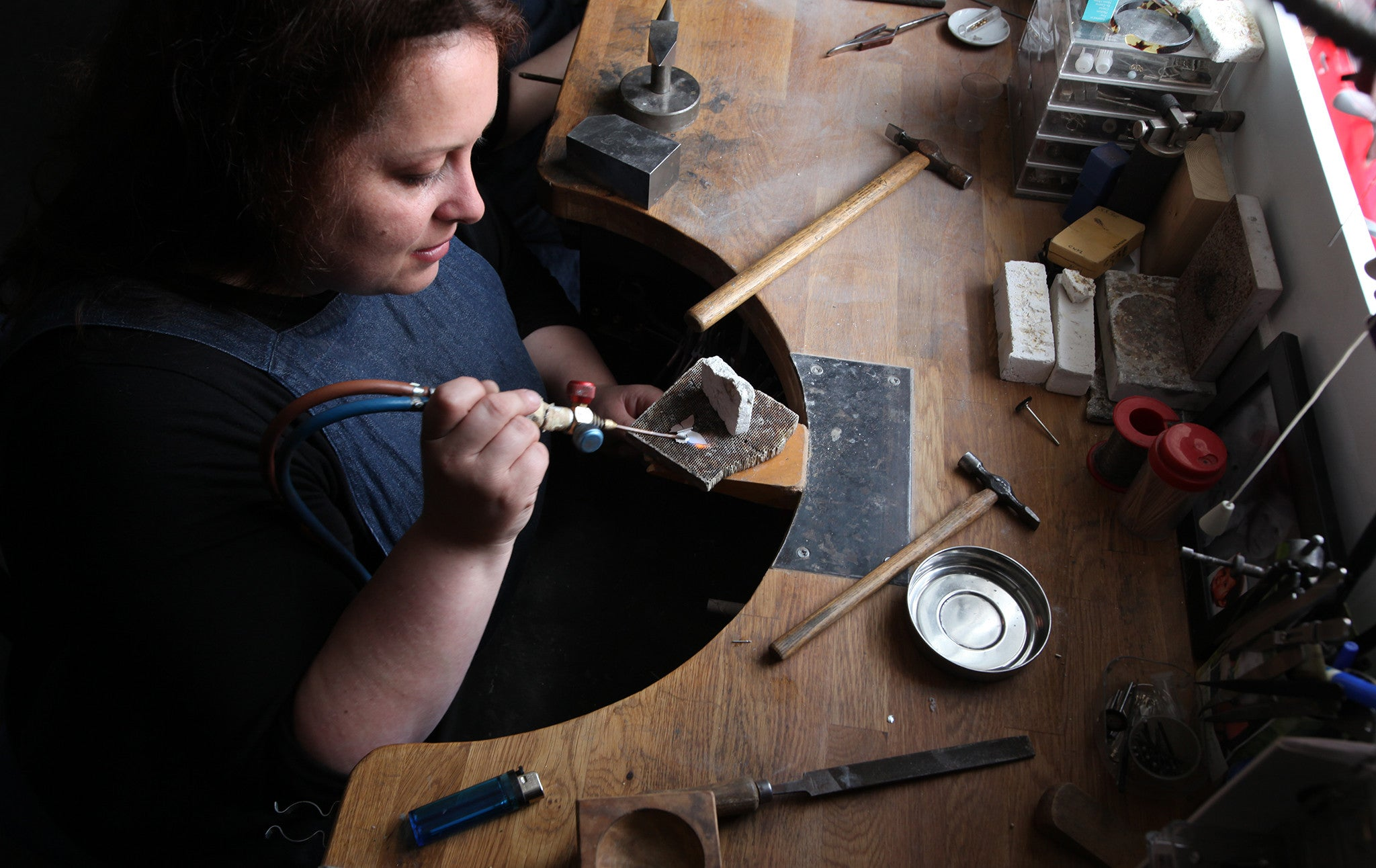 Collette Waudby Artisan Jeweller At Her Bench