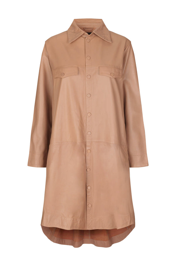 Nanna Thin Leather Shirtdress