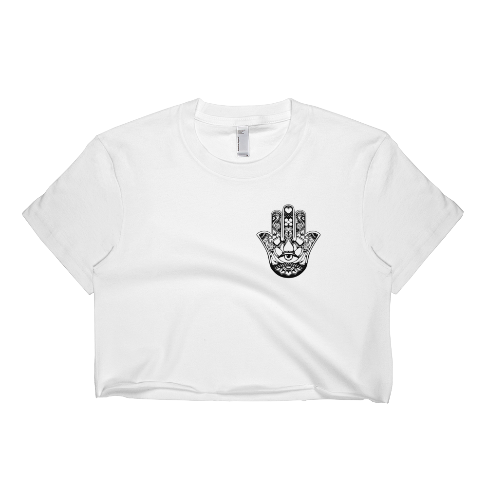 Black Hamsa Hand Crop Top