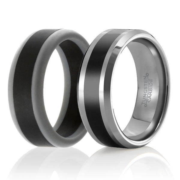 "Men's ""Twin"" - Set of 2 - 1 Tungsten Wedding Ring and 1 Silicone Wedding Ring For Men"