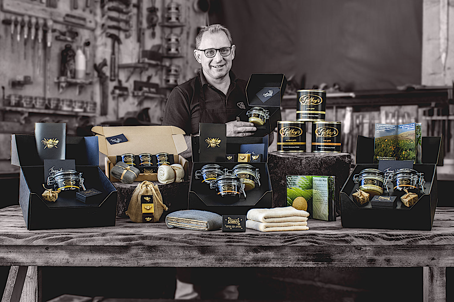 simon gilboy with the range of natural beeswax products