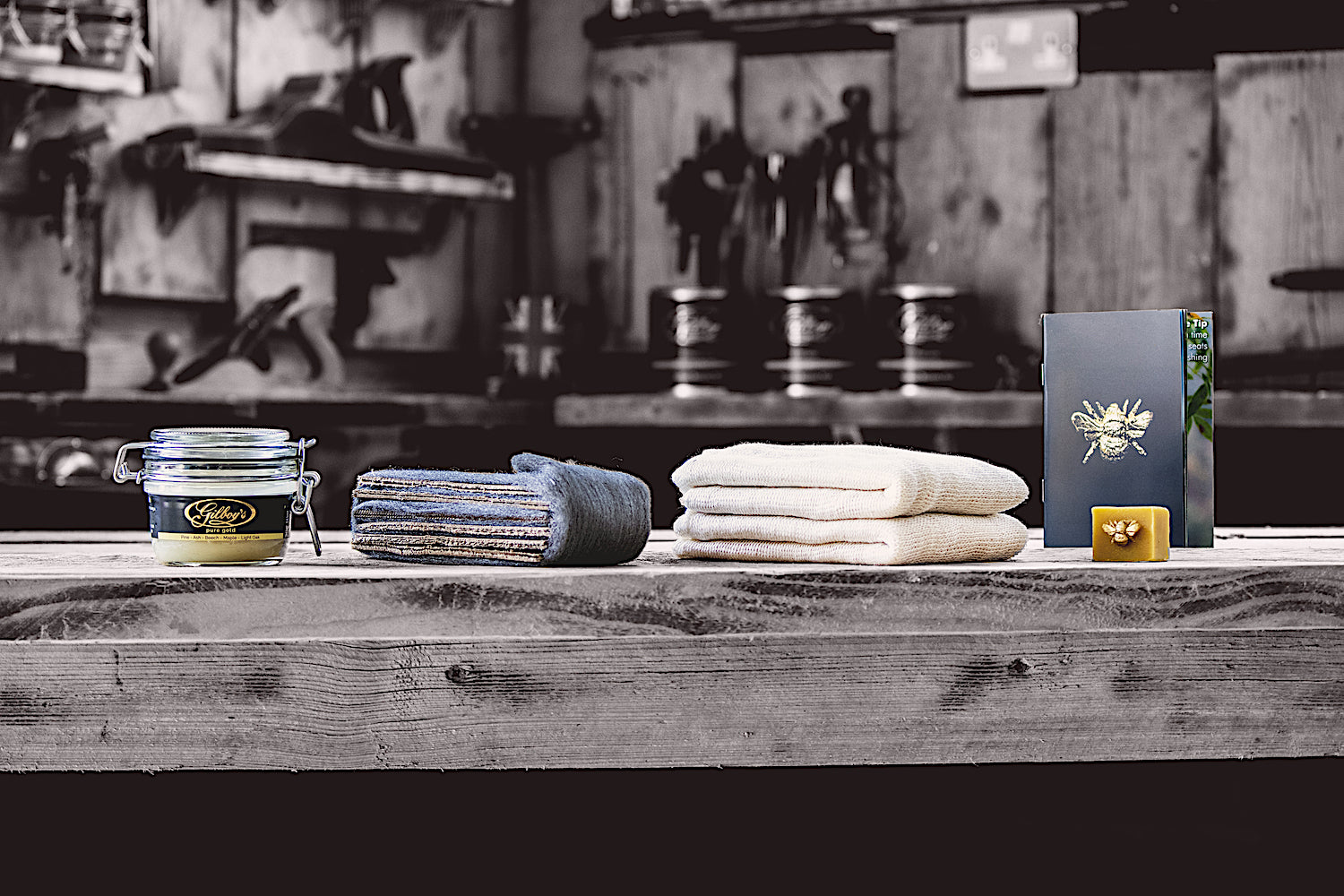 contents of Gilboys pure gold beeswax furniture polishing kit
