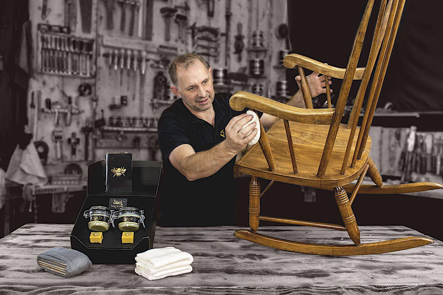 polishing an antique chair with Gilboys pure gold beeswax furniture polish