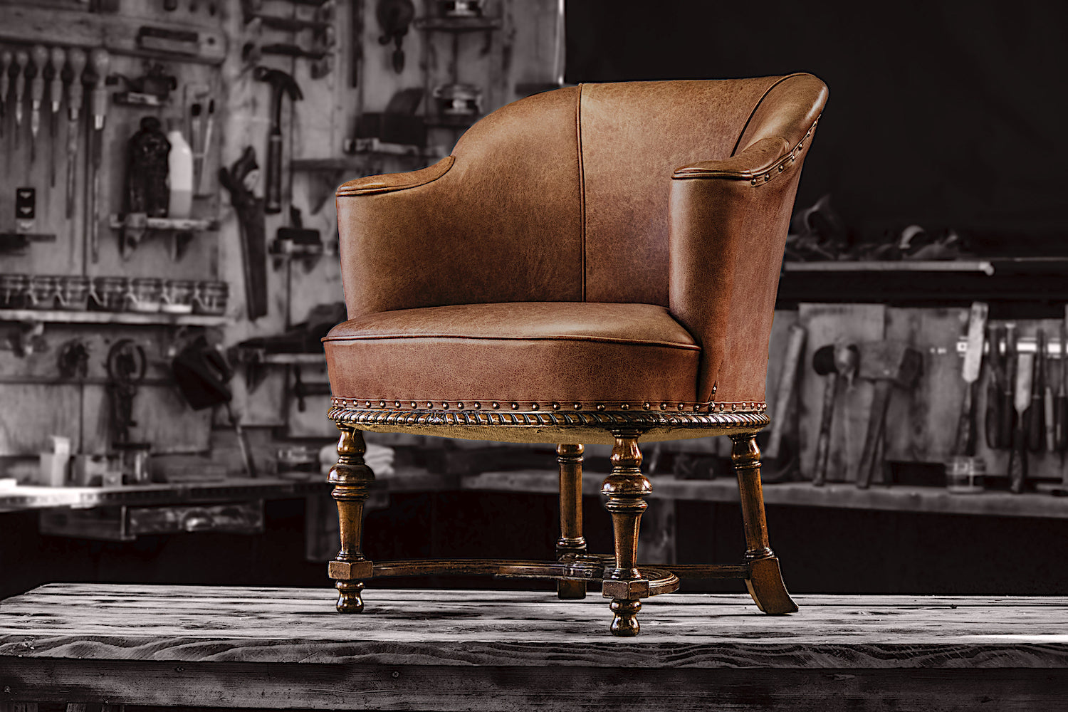 antique leather tub chair for sale