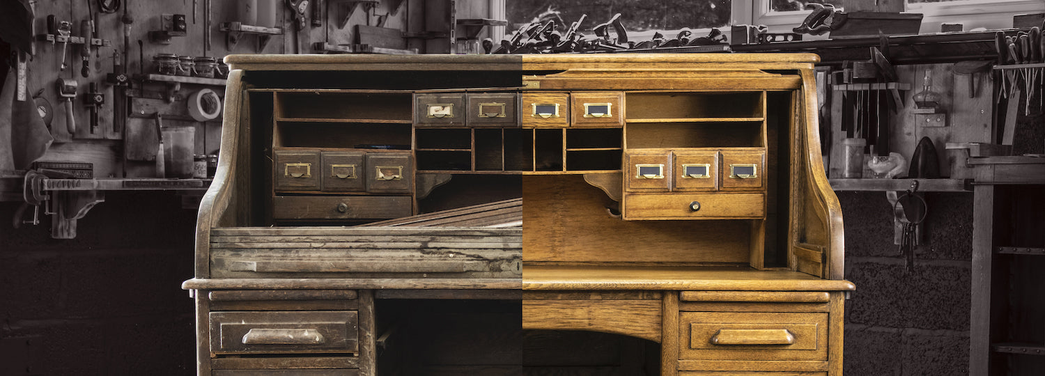Restoration of an antique bureau before and after