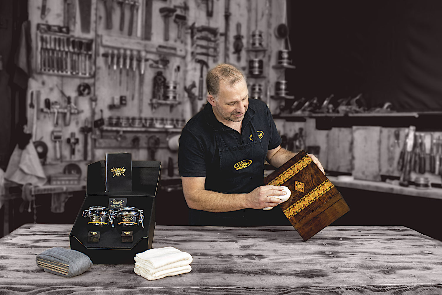 Simon Gilboy polishing an antique box using Gilboys beeswax wood polishes