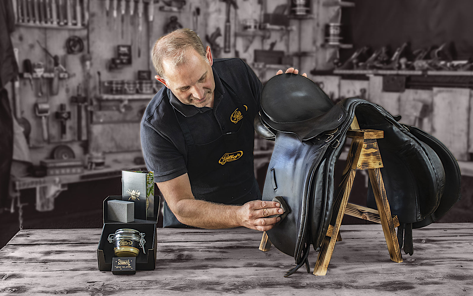 simon gilboys conditioning a saddle with beeswax leather balsam