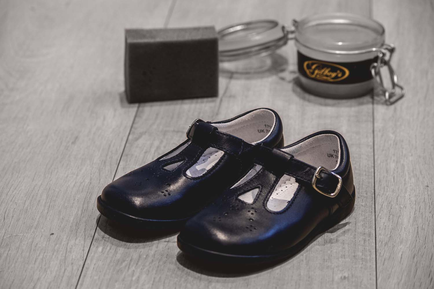 leather schools shoes polished with Gilboys leather Balsam
