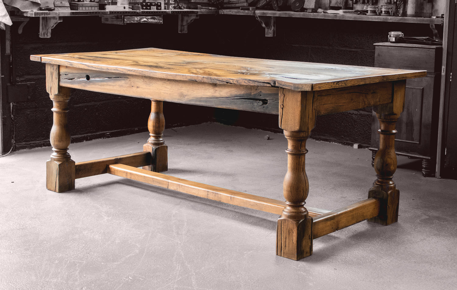 Antique Solid Oak Dining Table