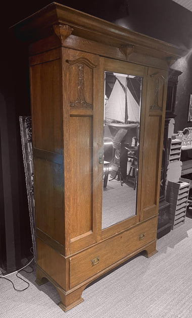 Art Nouveau Oak Wardrobe