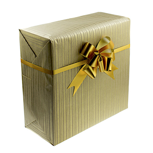 gift wrapped in high quality gold paper with a gold bow