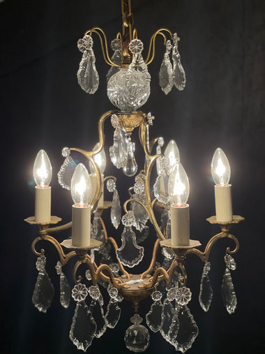 Vintage French Cage Chandelier - 'Nicolette'