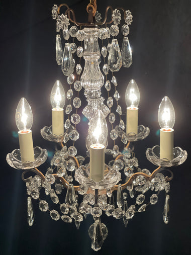 Vintage French 5 Lamp Chandelier - 'Juliet'