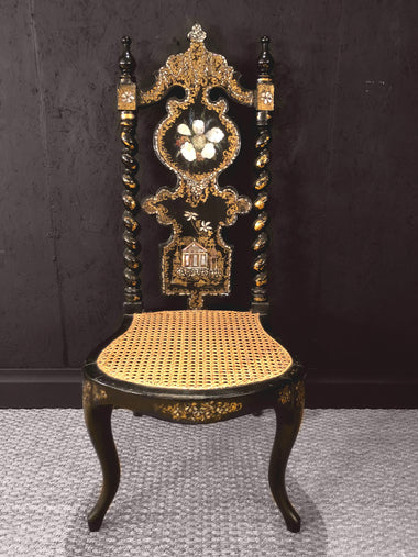Antique Chinoiserie Inspired Mother-of-Pearl Great Exhibition Chair