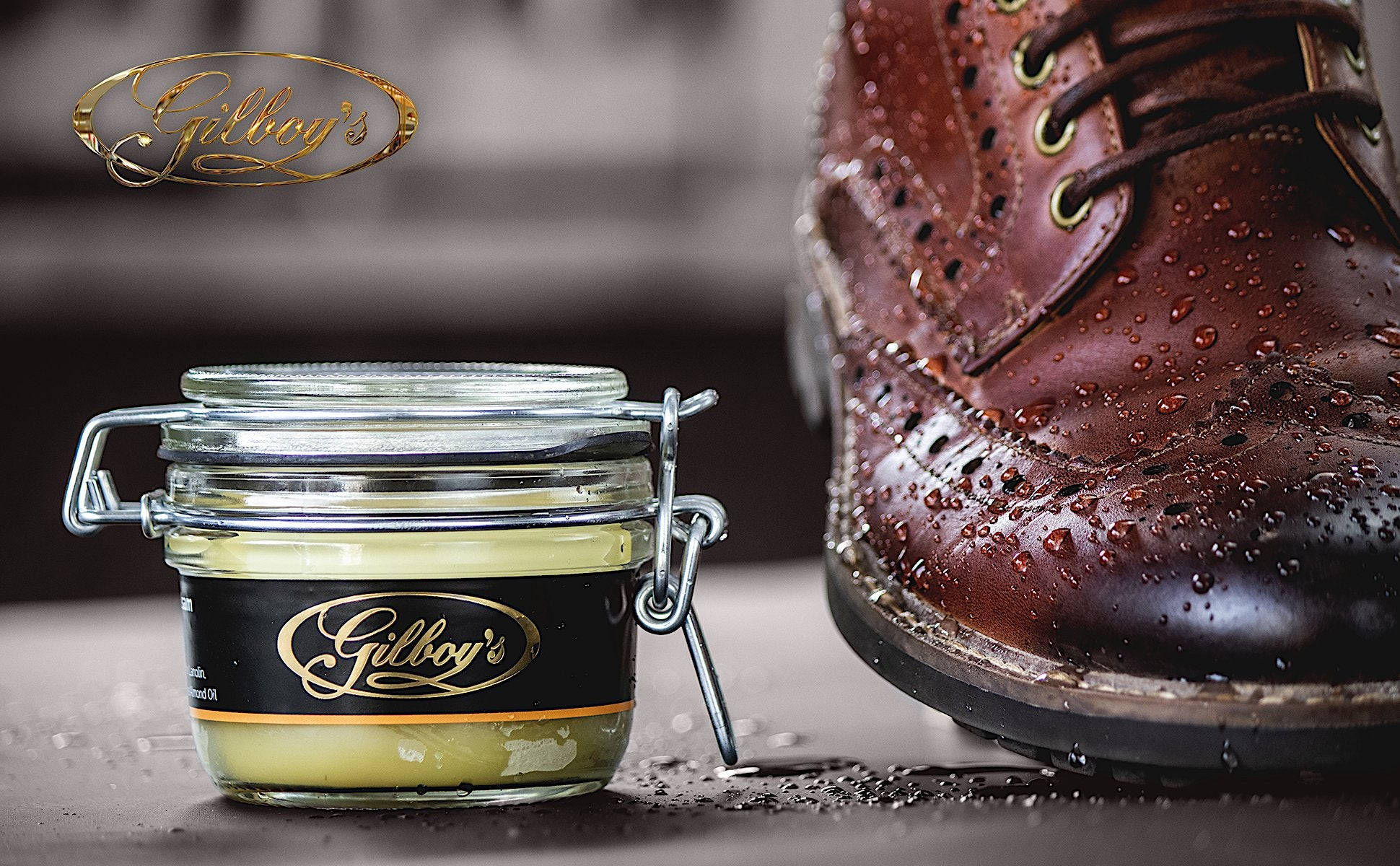 Gilboys beeswax balsam for waterproofing leather shoes