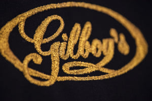 restorer's bib apron gilboys logo in gold thread embroidery