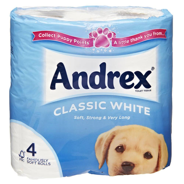 Grocery Delivery London - Andrex Classic White Toilet Tissue Rolls 4 same day delivery