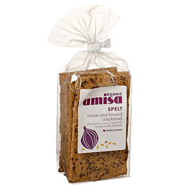 Grocery Delivery London - Amisa Organic Spelt Onion & Linseed Crispbread 200g same day delivery