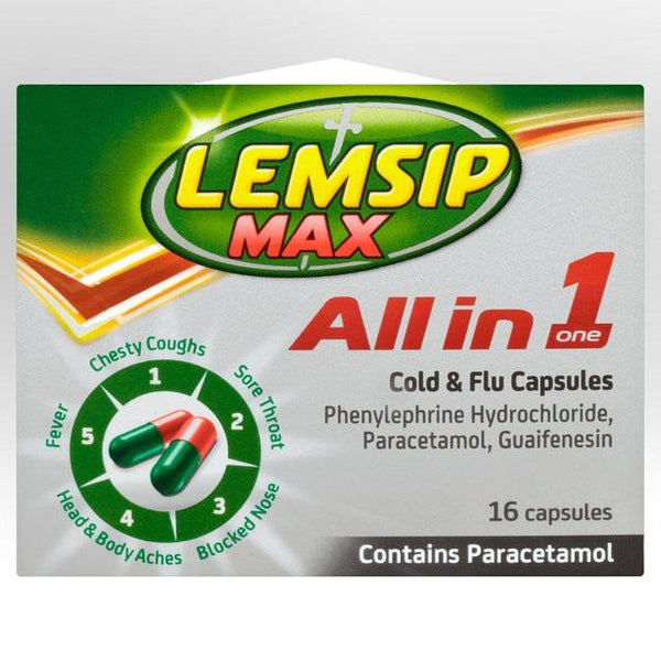 Grocemania Grocery Delivery London| Lemsip Max All in One Cold & Flu Capsules
