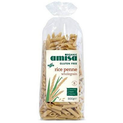 Grocery Delivery London - Amisa Organic Wholegrain Rice Penne 500g same day delivery