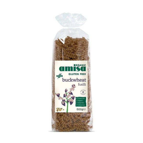 Grocery Delivery London - Amisa Organic Gluten Free Buckwheat Fusilli 500g same day delivery