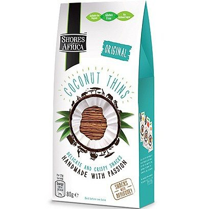 Grocemania Grocery Delivery London| Shores of Africa Coconut Thins Original 80g