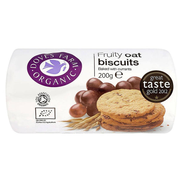 Grocery Delivery London - Doves Farm Organic Fruit Oat Digestives 200g same day delivery