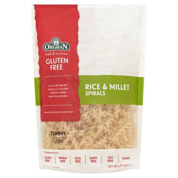 Grocemania Grocery Delivery London| Orgran Gluten Free Rice & Millet Pasta Spirals 250g